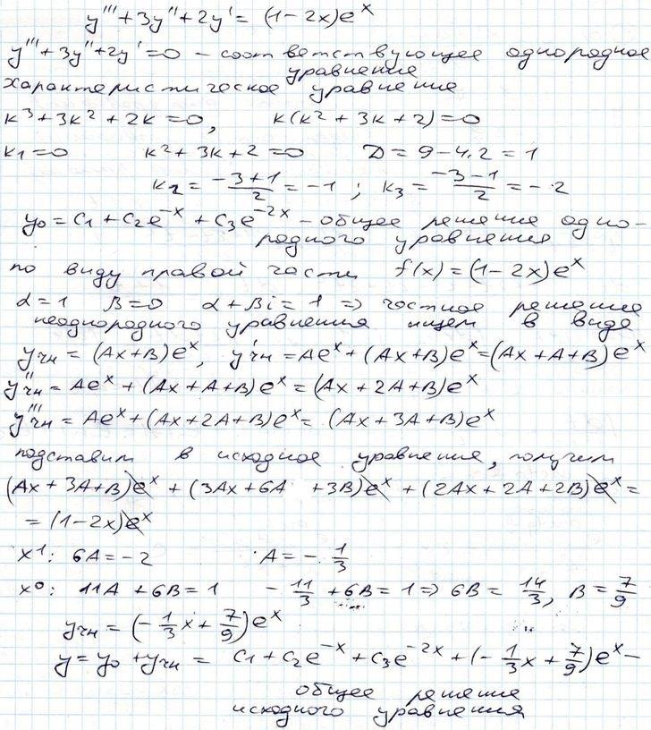 Примеры решения дифференциальных уравнений. Math24.su